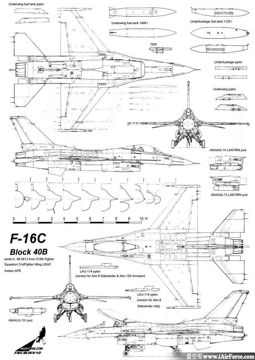 F-16 战隼 三视图 (Fighting Falcon) 3view