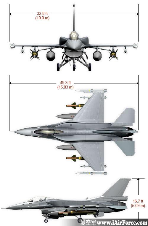 F-16 战隼 三视图 Fighting Falcon 3view