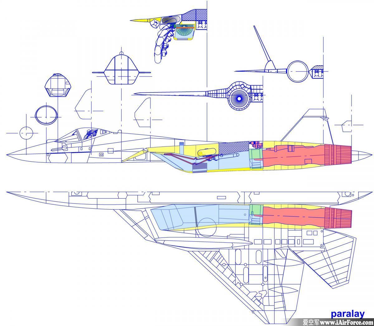 俄罗斯 T-50 战斗机立体剖视图
