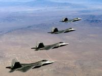 F-22 四机编队飞行图片